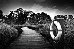 Passerelle sur l'eau dans noir et le blanc Photographie stock libre de droits