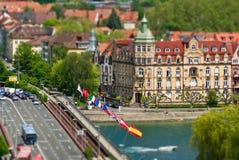 Passerelle sur le fleuve de Rhin Images libres de droits