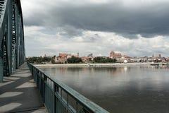 Passerelle sur le Vistula. Image stock