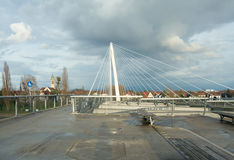 Passerelle zwyczajny most między Kehl i Strasbou (Niemcy) zdjęcie royalty free
