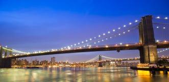 Passerelles de Brooklyn et de Manhattan Photos stock
