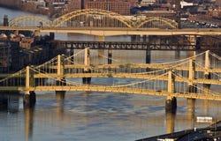 passerelles Pittsburgh du centre photo libre de droits