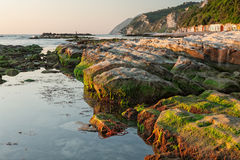 The passetto rocks at sunrise, Ancona, Italy Royalty Free Stock Images