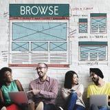 Passez en revue le navigateur relient le concept de disposition d'Internet image stock