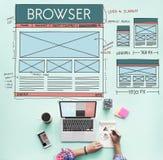 Passez en revue le navigateur relient le concept de disposition d'Internet photographie stock
