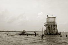 Passez les ruines de phare de Manchac Images stock