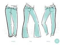 Passformer för jeans för kvinna` s vektor illustrationer