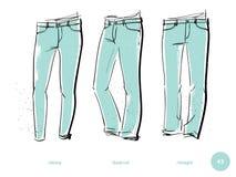 Passformer för jeans för man` s royaltyfri illustrationer