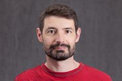 Passfoto av mannen i Forties med ett fullt skägg Arkivfoto