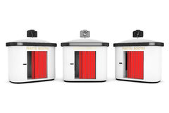 Passfotoautomat mit rotem Vorhang stockfotos