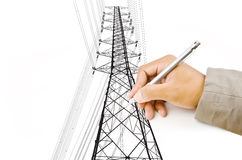 Passi ad illustrazione la riga ad alta tensione del palo di potenza. Fotografia Stock