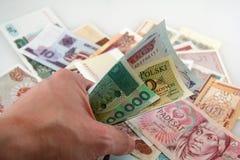 Passi afferrare i soldi Fotografia Stock Libera da Diritti