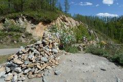 Passi Chike-Taman La vecchia strada del tratto di Chuysk Montagna Altai La Siberia occidentale Fotografia Stock Libera da Diritti