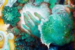 Passi e foglie che dipingono, structur stellato di verde smeraldo dettagliato Fotografia Stock Libera da Diritti