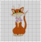 Passi a embriodery il gatto arancio per le mani di un ricamo un incrocio Fotografia Stock Libera da Diritti