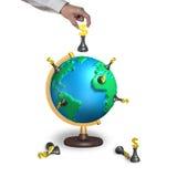 Passi gli scacchi della tenuta con il globo terrestre della mappa 3d Immagini Stock Libere da Diritti