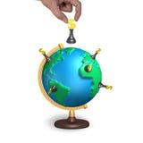 Passi gli scacchi della tenuta con il globo terrestre della mappa 3d Fotografie Stock Libere da Diritti