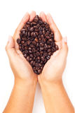 Passi i chicchi di caffè arrostiti tenuta su fondo bianco Fotografie Stock Libere da Diritti