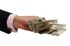 Passi i soldi d'offerta Fotografia Stock Libera da Diritti