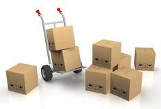 Passi il carrello con molte scatole di cartone Fotografia Stock