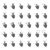 Passi il colpo e trascini le icone di vettore di gesto con le frecce commoventi di azione per il dispositivo del touch screen Immagini Stock Libere da Diritti