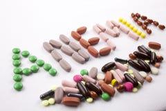 Passi il concetto di assistenza medica di scrittura scritto con la parola l'ANEMIA della capsula delle droghe delle pillole su fo Fotografie Stock
