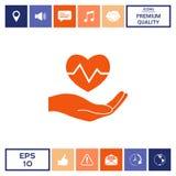 Passi il cuore della holding Icona medica Fotografie Stock