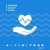 Passi il cuore della holding Icona medica Immagini Stock