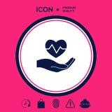 Passi il cuore della holding Icona medica Fotografie Stock Libere da Diritti