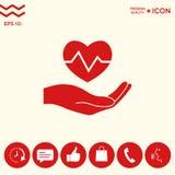 Passi il cuore della holding Icona medica Immagini Stock Libere da Diritti