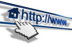 Passi il cursore che indica l'indirizzo del homepage illustrazione vettoriale