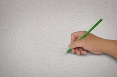 Passi il disegno con la matita verde Immagine Stock Libera da Diritti