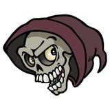 Passi il disegno di un cranio moderno fresco di Halloween Immagine Stock