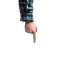 Passi il dito che indica verso l'alto su un fondo bianco, in a Fotografie Stock Libere da Diritti