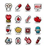 Passi il fumetto di tiraggio icone dell'ospedale e mediche impostate illustrazione di stock