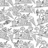 Passi il gelato del disegno ed il modello di scarabocchi dei cocktail Immagine Stock Libera da Diritti