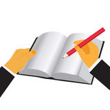 Passi il libro della tenuta e la matita, illustrazione di vettore nella progettazione piana per i siti Web Immagine Stock Libera da Diritti