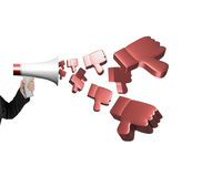 Passi il megafono della tenuta con i pollici 3D giù che spruzzano fuori Fotografia Stock