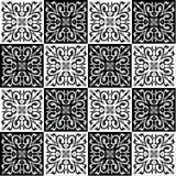 Passi il modello senza cuciture di disegno per i colori delle mattonelle in bianco e nero Immagine Stock