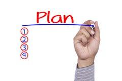 Passi il piano con l'indicatore blu, concetto bianco di scrittura di affari del fondo Immagini Stock Libere da Diritti