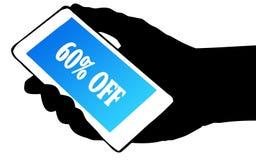 Passi il telefono della tenuta della siluetta con 60 PER CENTO FUORI da testo Fotografia Stock