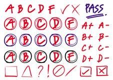 Passi il vettore di tiraggio - risultati dei gradi con i cerchi, i più ed il meno Immagini Stock Libere da Diritti