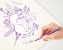 Passi il viaggio di vacanza del disegno intorno alla terra con i punti di riferimento e la c Immagine Stock