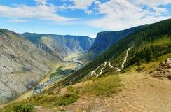 Passi Katu-Yaryk e la valle del fiume di Chulyshman Repubblica di Altai La Russia Fotografie Stock Libere da Diritti