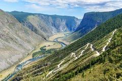 Passi Katu-Yaryk e la valle del fiume di Chulyshman Repubblica di Altai La Russia Immagine Stock Libera da Diritti