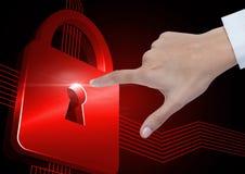 Passi l'aria commovente dell'icona della serratura di sicurezza con le linee del circuito Immagine Stock