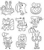 Passi l'icona dell'animale di estate del fumetto di tiraggio illustrazione di stock