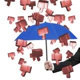 Passi l'ombrello della tenuta per impedire i pollici 3D giù Immagini Stock