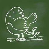Passi l'uccello del disegno sul bordo verde - Vector l'illustrazione illustrazione di stock