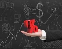 Passi la mostra dell'uomo d'affari che appende sul segno di percentuale con l'affare Immagine Stock Libera da Diritti